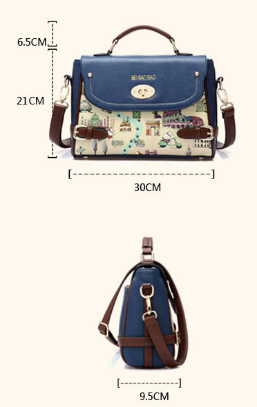 Blue Cute Cartoon Leather Handbag Shoulder Bag - lilyby