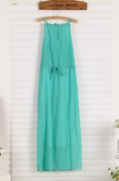 Elegant Backless Halter Straps V-neck Chiffon Dress - lilyby