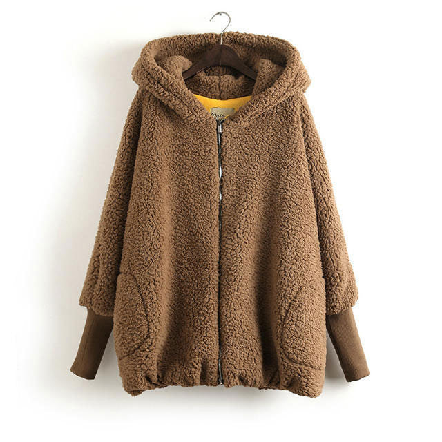 Lovely Bear Thicken Hooded Loose Warm Coat - lilyby