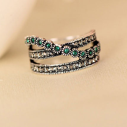 Retro Double Row Green Crystal Ring - lilyby