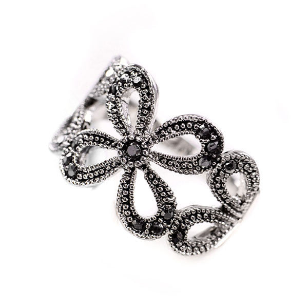 Retro Clover Plant Pattern Rhinestone Rings - lilyby