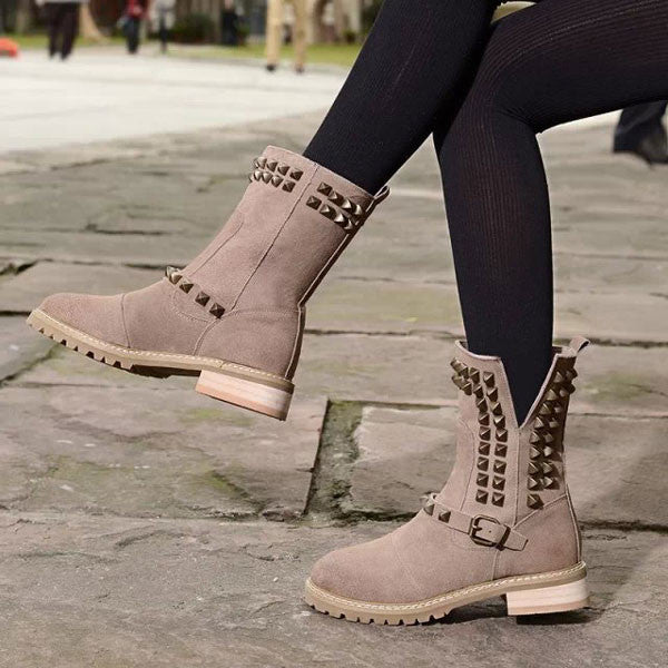 Retro Rivet Nubuck Leather Buckle Boots - lilyby