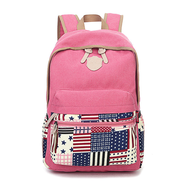 College Striped Dot Star Printing School Canvas Backpack - lilyby