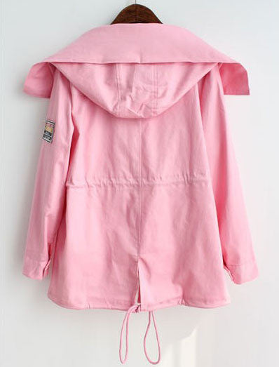 Casual Colorfuls Pocket Drawstring Hooded Coat - lilyby