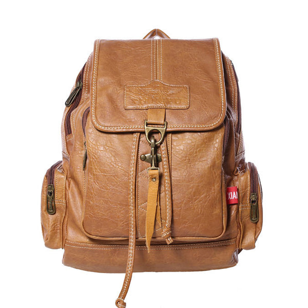 Retro Brown Button Leather Travel Backpack School Bag - lilyby