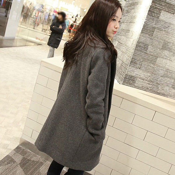 New Double Breasted Lapel Long Woolen Coat - lilyby