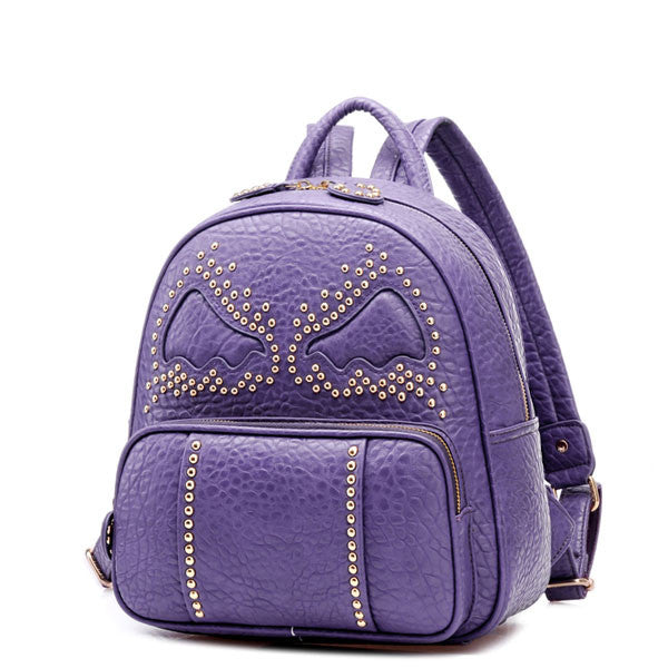 New Rivet Bat Pattern Leather Backpack - lilyby