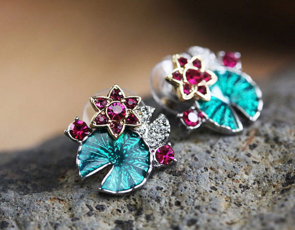 New Multifunctional Lotus Leaf And Flower Folk Earring &Necklace &Bracelet - lilyby