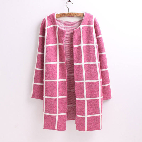 Graceful Middle-long Lattice Loose Cardigan - lilyby
