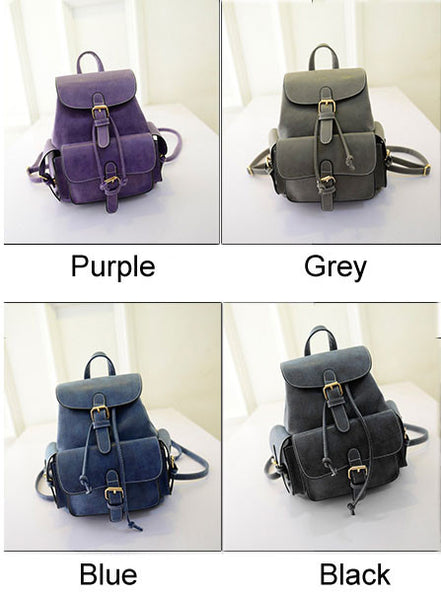 Fresh Retro Cute Solid Nubuck School Bag Backpacks - lilyby