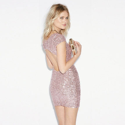 Shining All-sequined Hollow Out Package Buttocks Dress