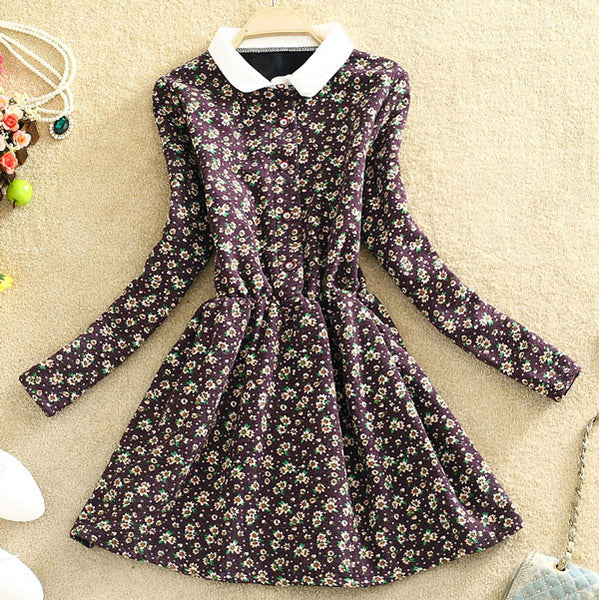 Plus Velvet Floral Print Long Sleeve A-line Dress - lilyby