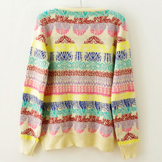 Pretty RainBowknot Geometry Print Knitted Sweater - lilyby