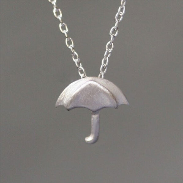 Hand Design Umbrella Silver Pendant Necklace - lilyby