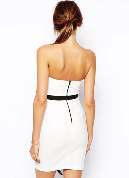 Graceful Irregular Sleeveless White Party Dress - lilyby