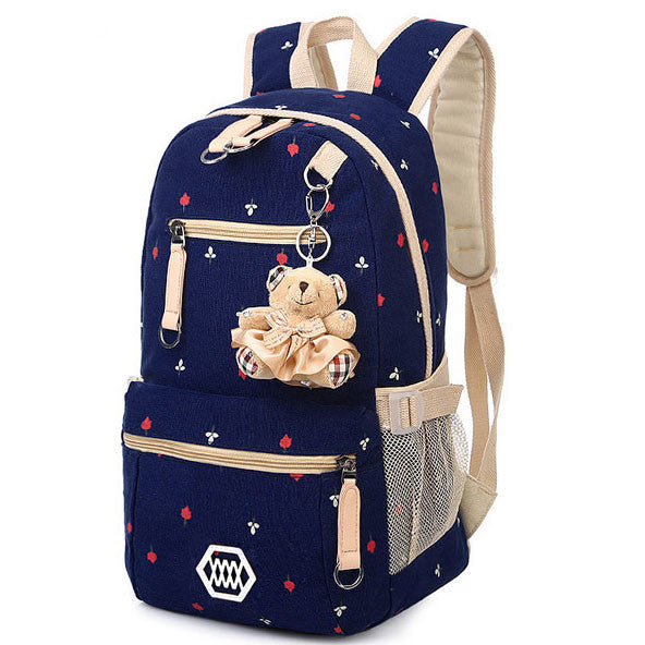 Latest Floral Print Canvas Student Backpack - lilyby