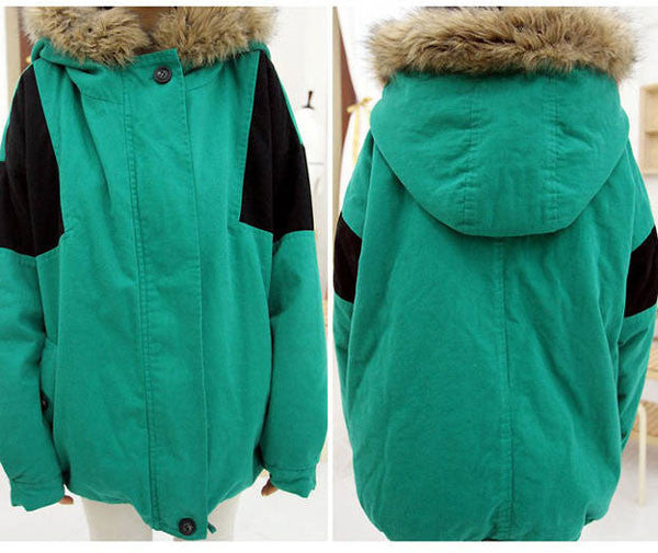 Latest Patch Fur Collar Cotton-Padded Wool Coat