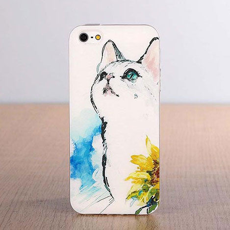 Cute Cat Cartoon Pattern Silicone Iphone 5/5s/5c/6/6s Cases - lilyby