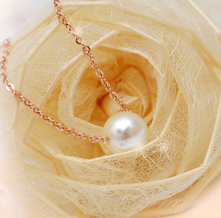 Gift Pretty One Pearl Rose Gold Necklace - lilyby