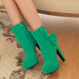 Lady Bowknot High Heel Side Zipper Boots - lilyby