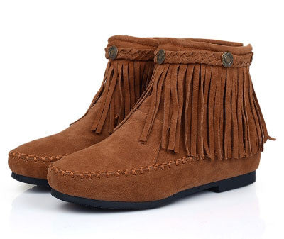 Pretty Nubuck Leather Fringed Height Increasing Flat Boots - lilyby