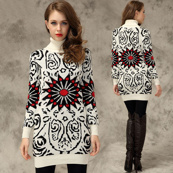 Retro Sunflower Print Long Sweaters - lilyby