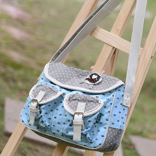 Latest Bear Dots Canvas Bag Messenger Bag - lilyby