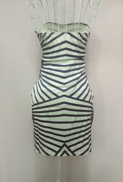 Stripe Chest Wrapped Ladies Dress Party Dress