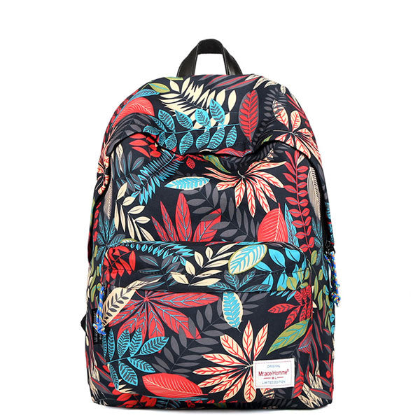 Leisure Flower Printing Canvas School Student Backpacks - lilyby