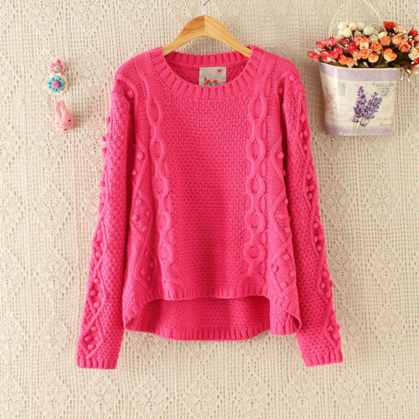 School Pullover Hand Made Ball Irregular Cut Sweater - lilyby