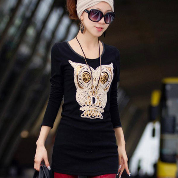 Owl Sequins Velvet Long Sleeve Tops Bottoming Shirt - lilyby
