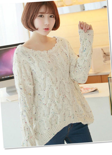 Cheap Latest Irregular Round Neck Color Point Loose Sweater - lilyby