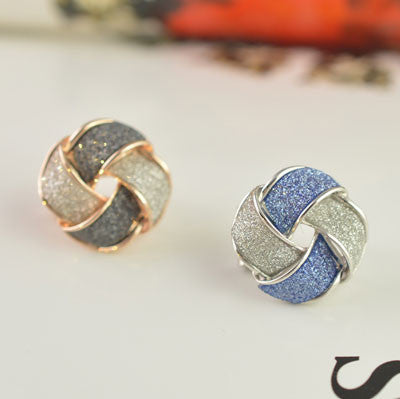 Unique Frosted Geometry Stud Earrings