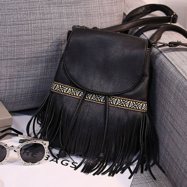 Ethnic Tassel Embroidery Fringed Drawstring PU Backpack - lilyby