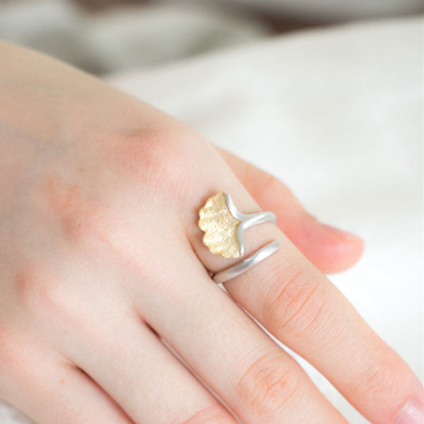 Ginkgo Leaf 925 Sterling Silver Jewelry Opening Ring - lilyby
