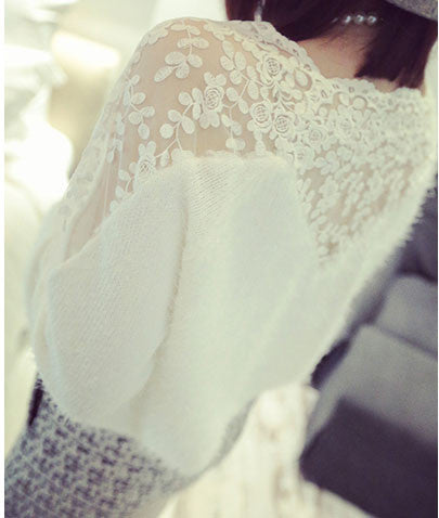 Flower Print Lace Stitching Mohair Sweater - lilyby