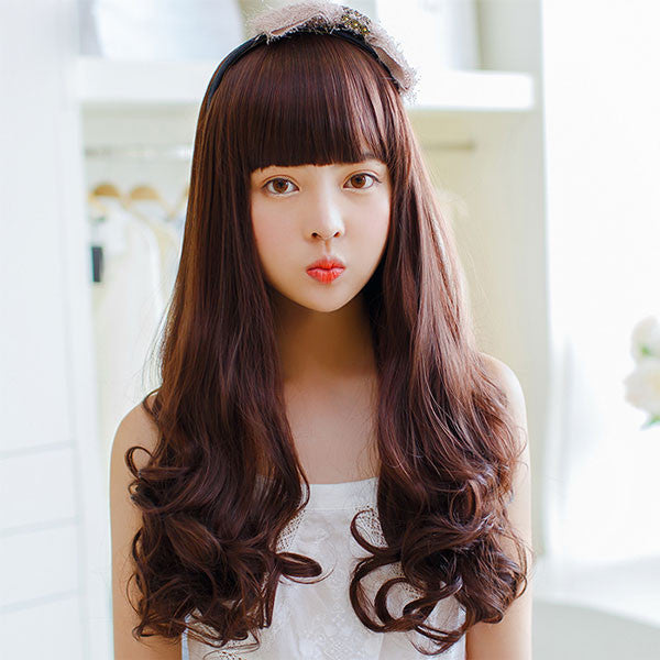 Side Bang/Full Bang Long Wavy Synthetic Hair Wigs