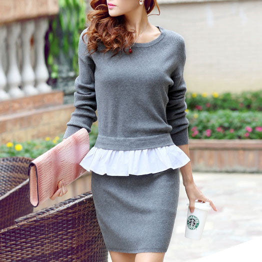 Pretty False Two Piece Falbala Knit Sweater Dresses - lilyby