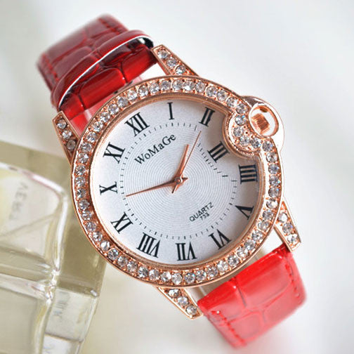 Roman-Fashion Diamond-studded Student Leather Watch - lilyby