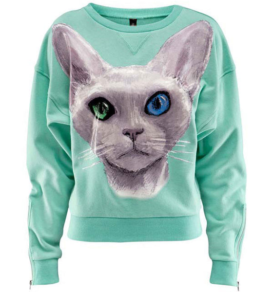 Blue Eye Cat Print Warm Loose Cotton Sweatshirt - lilyby