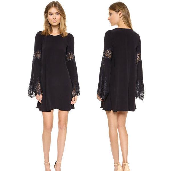 Pretty Scallop Lace Long Flare Sleeve Dress - lilyby