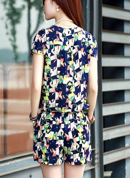 Casual Style Ladies Short-sleeved Chiffon One-piece Pants - lilyby