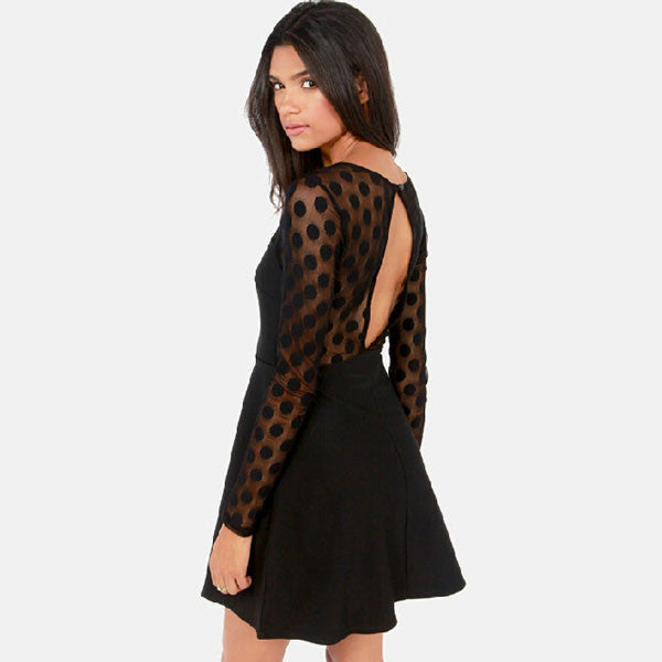 Dot Pattern Grenadine Hollow Back A-line Dress - lilyby