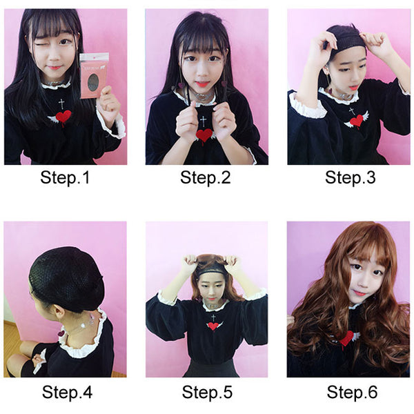 New Wig Female Medium Wavy Curly Hair Center Bangs Hair Wig