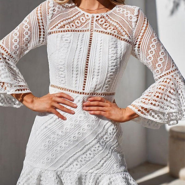 Leisure Hollow Long Sleeves Round Neck Ruffled Skirt Lace Summer Dress