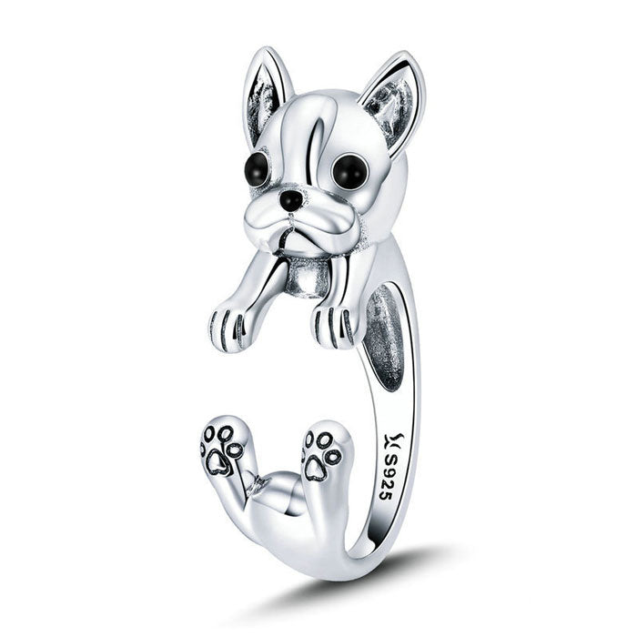 Lovely Dog 925 Silver Ring Bulldog Animal Ring