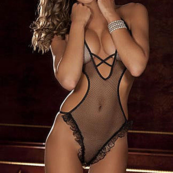 Sexy  Chiffon Perspective Intimate Underwear Lace Conjoined Women Lingerie
