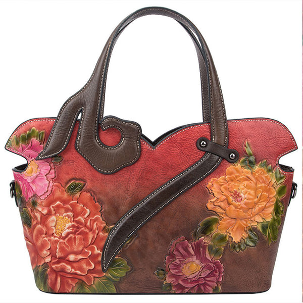 Retro Embossing Flower Rose Large Handbag Handmade 3D Shoulder Bag