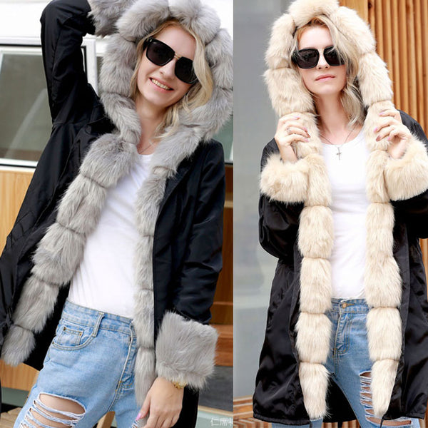 Punk Collar Fur Long Sleeve Cardigan Fluff Warm Long Hooded Women Coat
