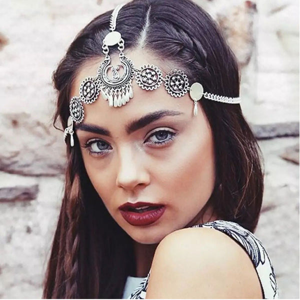 Retro Ethnic Metal Engraving Drop Tassel Headband Hair Acceesory